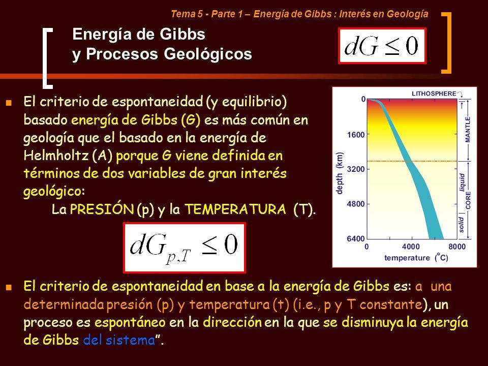 El criterio de espontaneidad (y equilibrio) basado energía de Gibbs (G) es más común en geología que el basado en la energía de Helmholtz (A) porque G