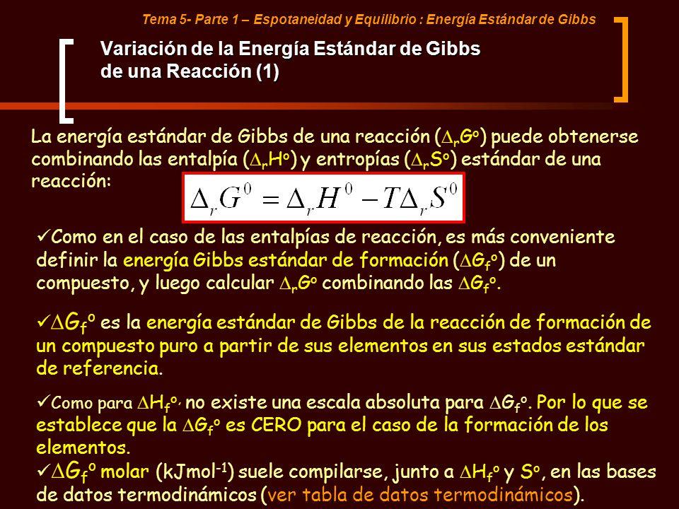 Tema 5- Parte 1 – Espotaneidad y Equilibrio : Energía Estándar de Gibbs Variación de la Energía Estándar de Gibbs de una Reacción (1) La energía están