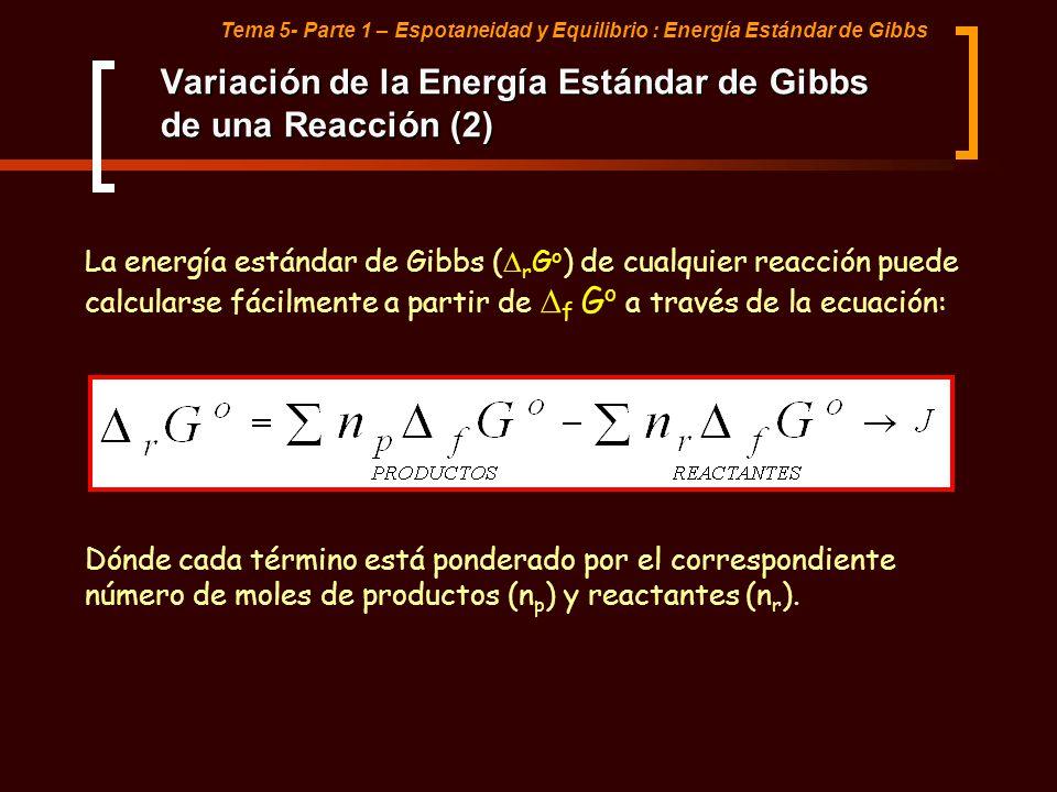 Tema 5- Parte 1 – Espotaneidad y Equilibrio : Energía Estándar de Gibbs Variación de la Energía Estándar de Gibbs de una Reacción (2) La energía están