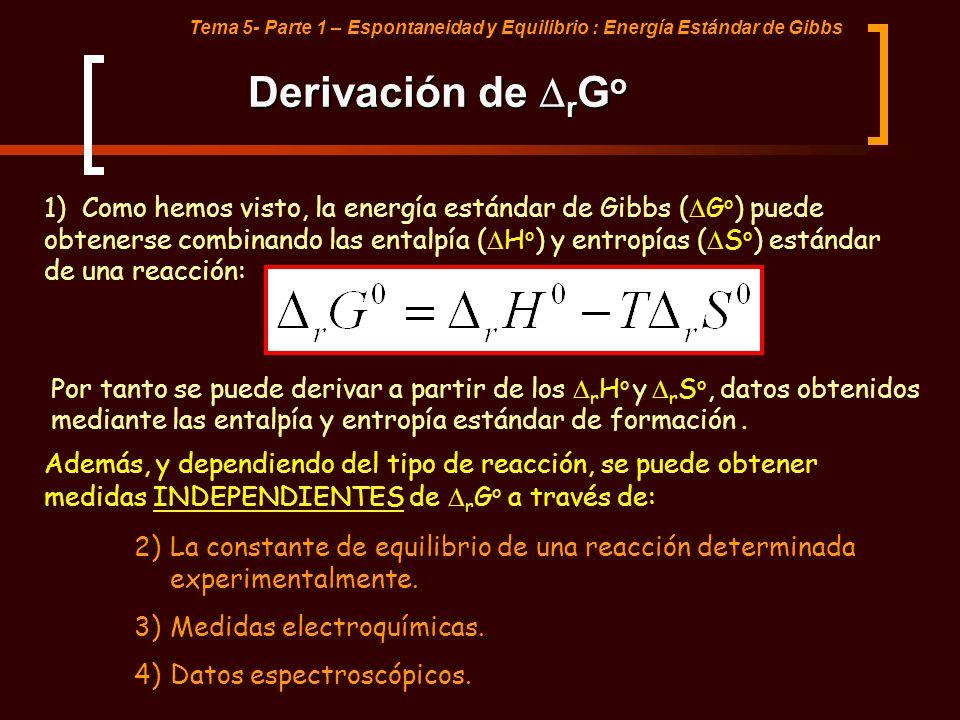 Tema 5- Parte 1 – Espontaneidad y Equilibrio : Energía Estándar de Gibbs Derivación de r G o 1) Como hemos visto, la energía estándar de Gibbs ( G o )