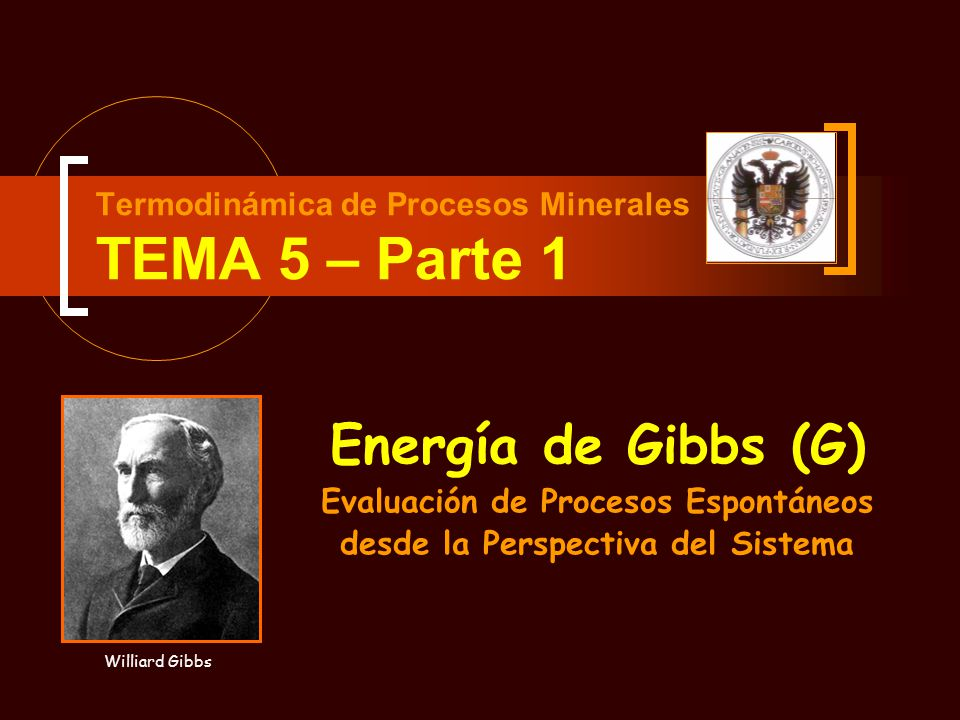 Termodinámica de Procesos Minerales TEMA 5 – Parte 1 Energía de Gibbs (G) Evaluación de Procesos Espontáneos desde la Perspectiva del Sistema Williard