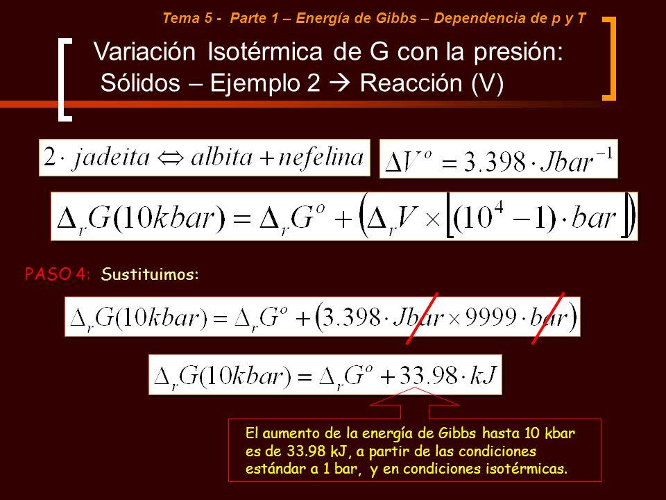 Tema 5 - Parte 1 – Energía de Gibbs – Dependencia de p y T Variación Isotérmica de G con la presión: Sólidos – Ejemplo 2 Reacción (V) PASO 4: Sustitui