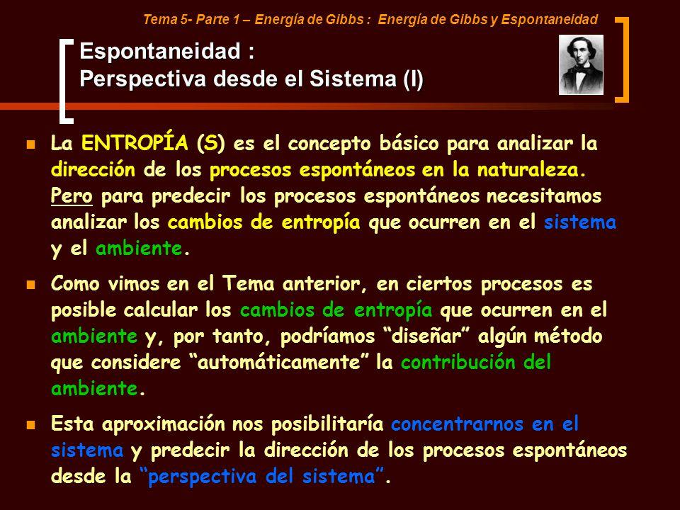 Tema 5- Parte 1 – Energía de Gibbs : Energía de Gibbs y Espontaneidad Criterio de Espontaneidad: Energía de Gibbs y de Helmholtz (I) PRESIÓN DETERMINADA VOLUMEN DETERMINADO PODRÍA SIMPLIFICARSE SI INTRODUJERAMOS NUEVAS VARIABLES TEMORDINÁMICAS ENERGÍA DE GIBBS También conocida como: Energía libre o Energía libre de Gibbs TEMPERATURA DETERMINADA ENERGÍA DE HELMHOLTZ También conocida como: Función de máximo trabajo o Energía libre de Helmholtz.