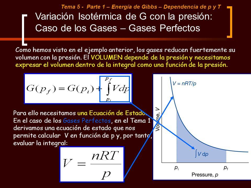 Tema 5 - Parte 1 – Energía de Gibbs – Dependencia de p y T Como hemos visto en el ejemplo anterior, los gases reducen fuertemente su volumen con la pr
