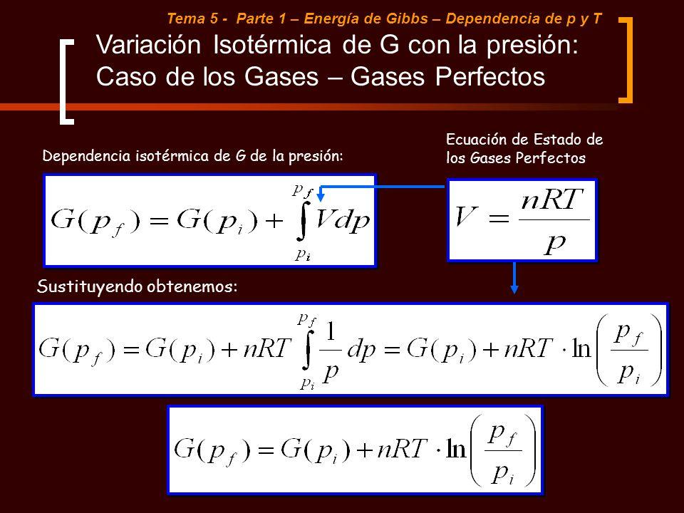 Tema 5 - Parte 1 – Energía de Gibbs – Dependencia de p y T Variación Isotérmica de G con la presión: Caso de los Gases – Gases Perfectos Sustituyendo