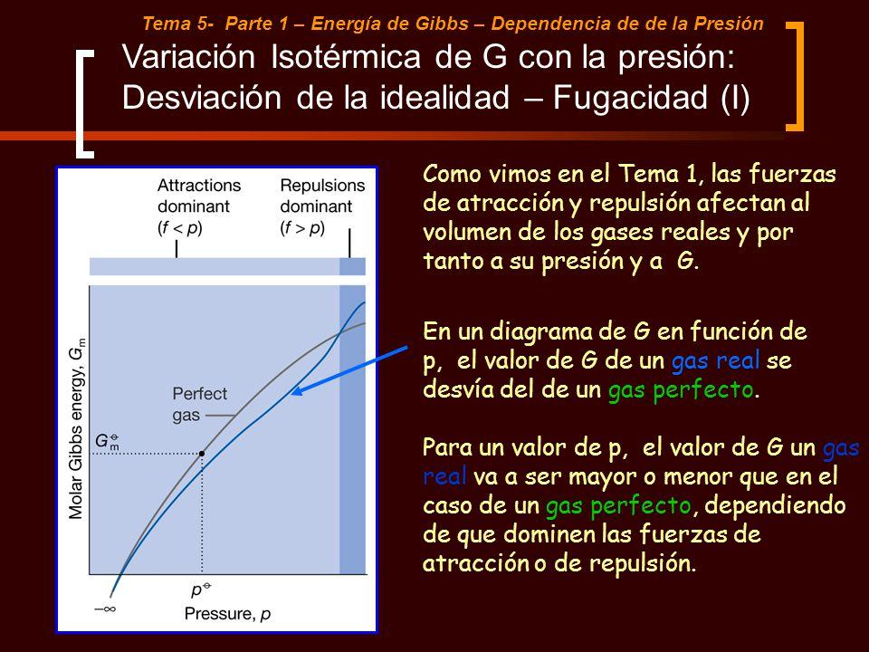 Tema 5- Parte 1 – Energía de Gibbs – Dependencia de de la Presión Variación Isotérmica de G con la presión: Desviación de la idealidad – Fugacidad (I)