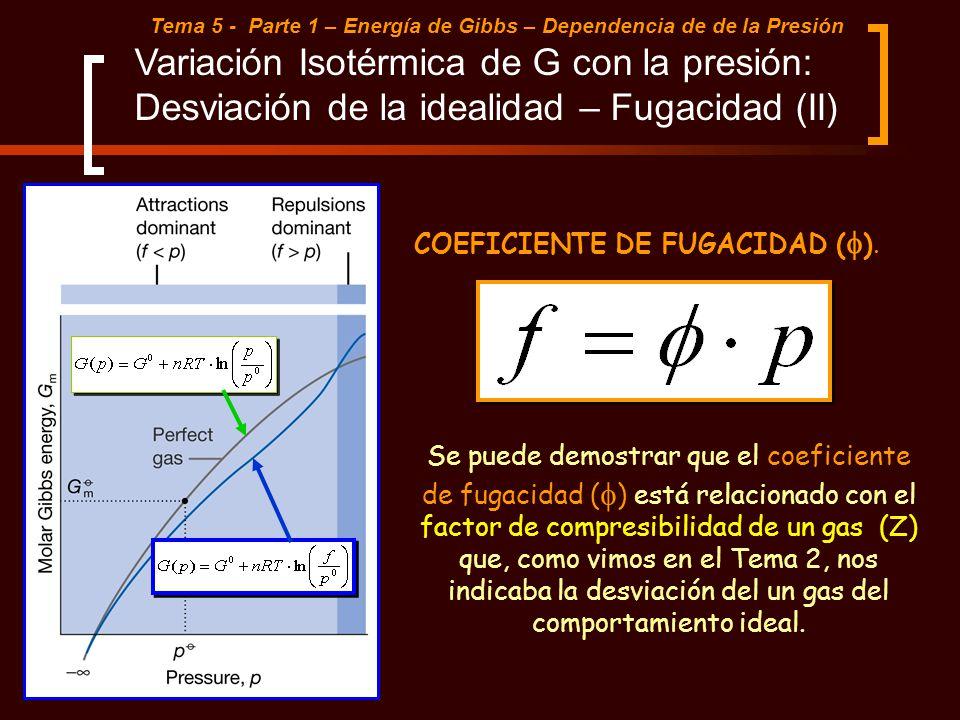 Tema 5 - Parte 1 – Energía de Gibbs – Dependencia de de la Presión Variación Isotérmica de G con la presión: Desviación de la idealidad – Fugacidad (I