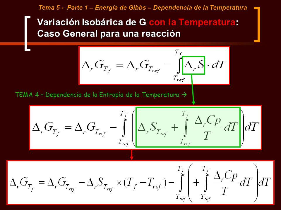 Variación Isobárica de G con la Temperatura: Caso General para una reacción Tema 5 - Parte 1 – Energía de Gibbs – Dependencia de la Temperatura TEMA 4