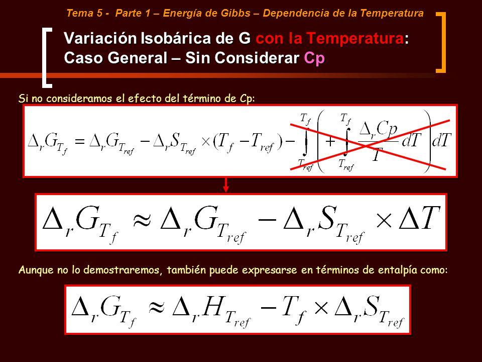 Variación Isobárica de G con la Temperatura: Caso General – Sin Considerar Cp Tema 5 - Parte 1 – Energía de Gibbs – Dependencia de la Temperatura Si n