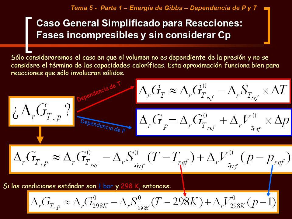 Caso General Simplificado para Reacciones: Fases incompresibles y sin considerar Cp Tema 5 - Parte 1 – Energía de Gibbs – Dependencia de P y T Sólo co