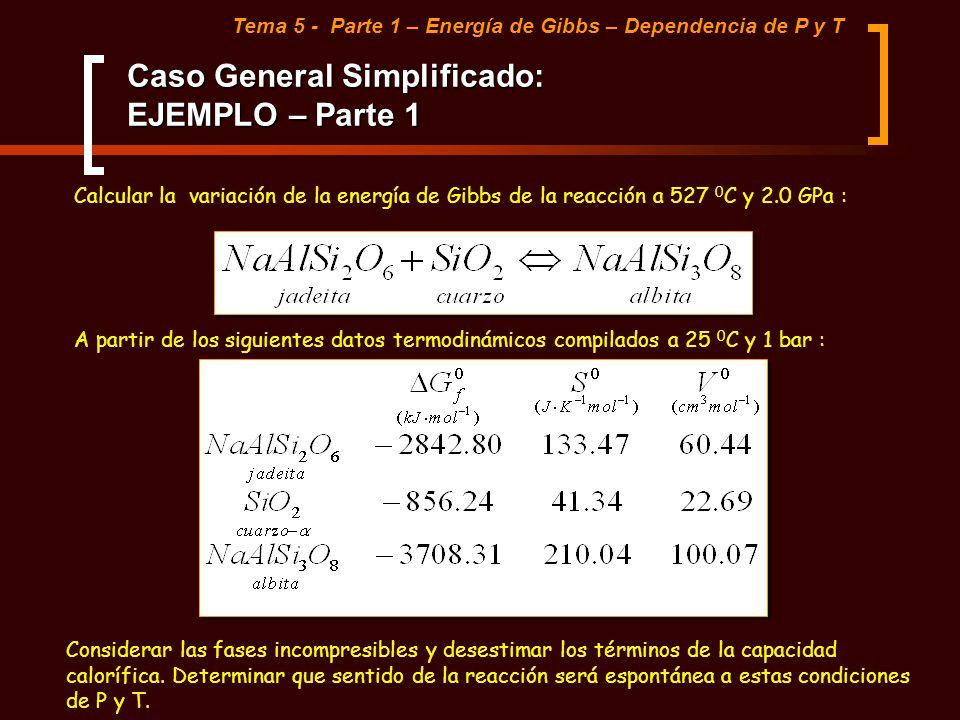 Caso General Simplificado: EJEMPLO – Parte 1 Tema 5 - Parte 1 – Energía de Gibbs – Dependencia de P y T Calcular la variación de la energía de Gibbs d