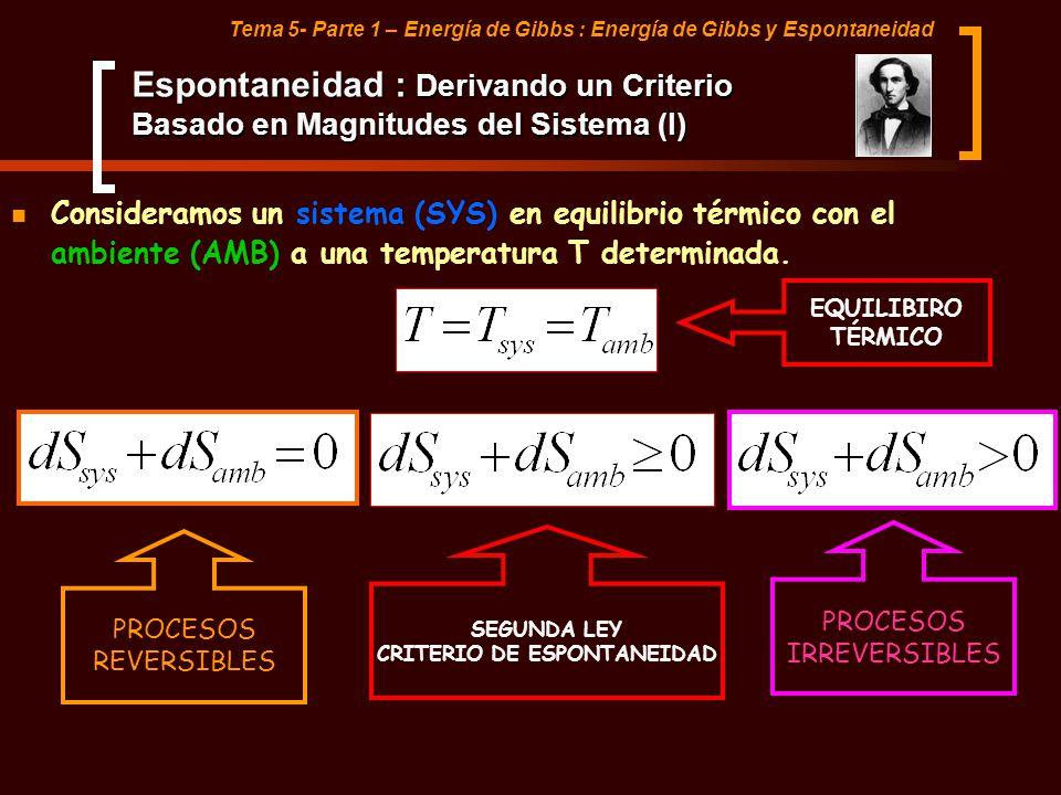 Tema 5- Parte 1 – Energía de Gibbs : Energía de Gibbs y Espontaneidad Espontaneidad : Derivando un Criterio Basado en Magnitudes del Sistema (II) CRITERIO DE ESPONTANEIDAD PROCESO REVERSIBLE PROCESO IRREVERSIBLE CALOR LIBERADO.