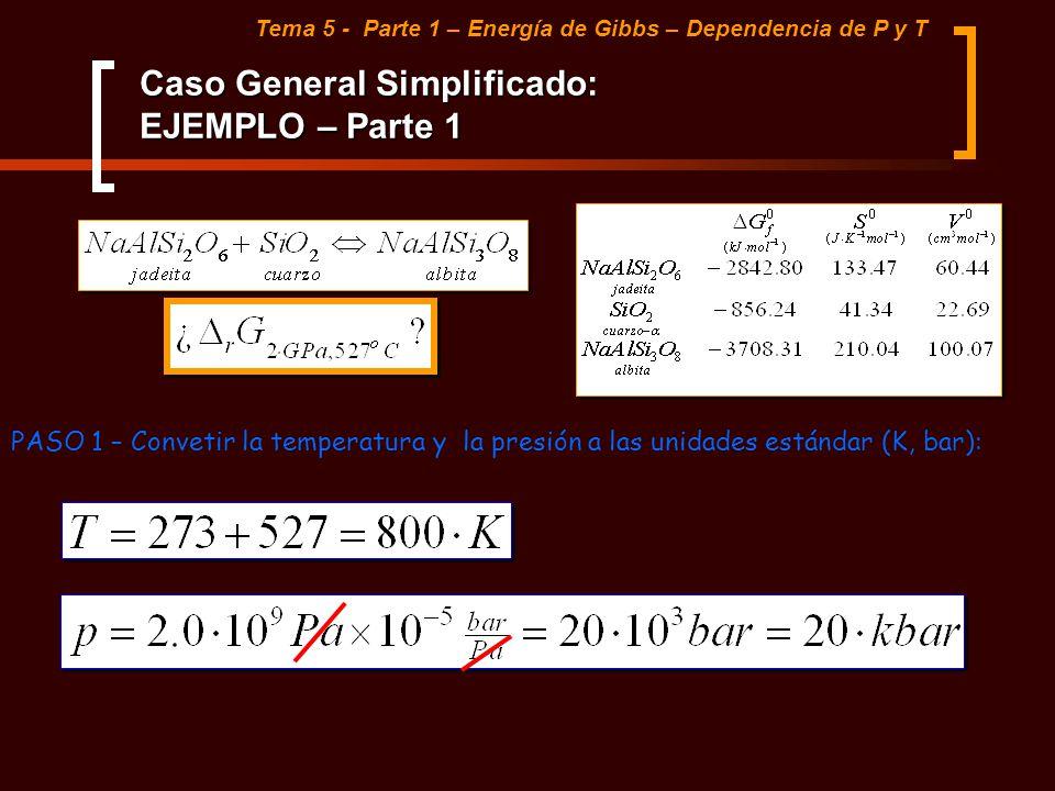 Caso General Simplificado: EJEMPLO – Parte 1 Tema 5 - Parte 1 – Energía de Gibbs – Dependencia de P y T PASO 1 – Convetir la temperatura y la presión