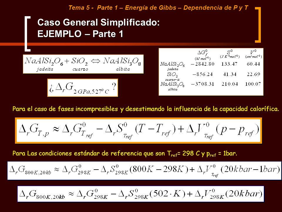 Caso General Simplificado: EJEMPLO – Parte 1 Tema 5 - Parte 1 – Energía de Gibbs – Dependencia de P y T Para el caso de fases incompresibles y desesti