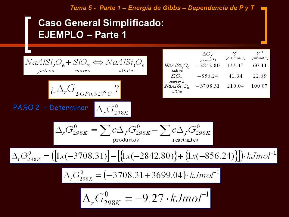 Caso General Simplificado: EJEMPLO – Parte 1 Tema 5 - Parte 1 – Energía de Gibbs – Dependencia de P y T PASO 2 – Determinar