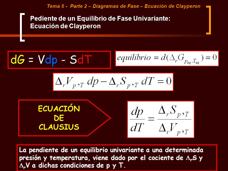 Tema 5 - Parte 2 – Diagramas de Fase – Ecuación de Clayperon Pediente de un Equilibrio de Fase Univariante: Ecuación de Clayperon dG = Vdp - SdT ECUAC