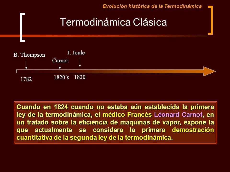 Termodinámica Clásica Evolución histórica de la TermodinámicaCarnot1820s Cuando en 1824 cuando no estaba aún establecida la primera ley de la termodin