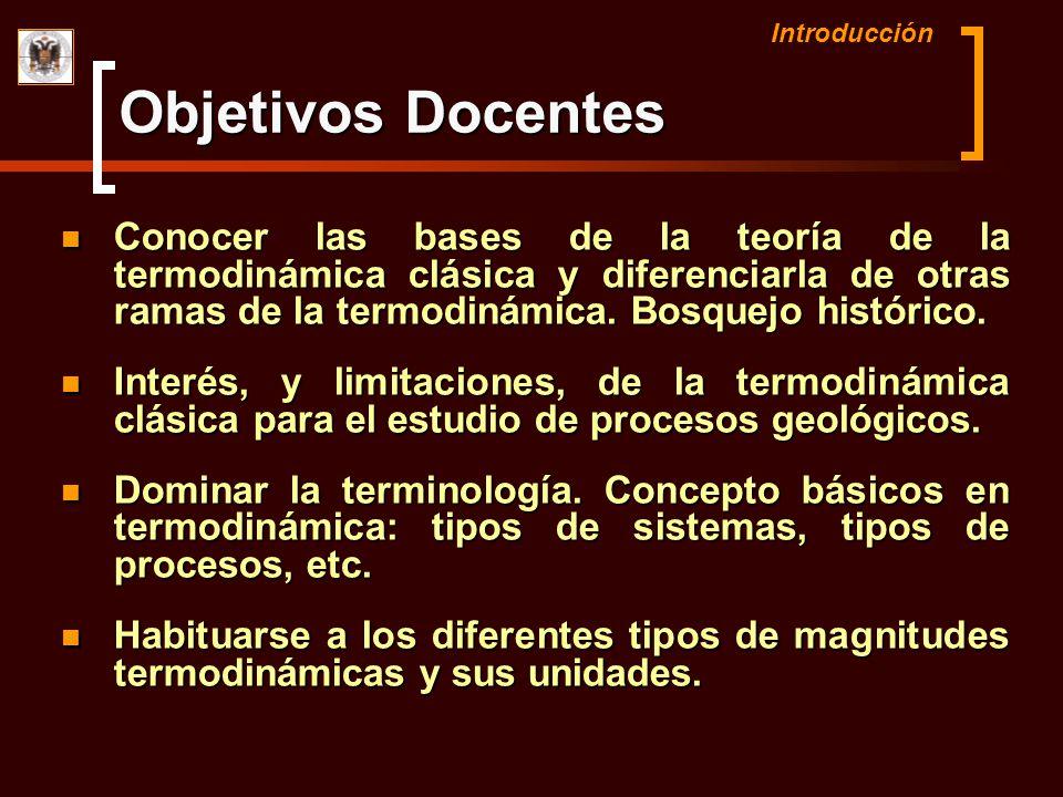 Introducción Conocer las bases de la teoría de la termodinámica clásica y diferenciarla de otras ramas de la termodinámica. Bosquejo histórico. Conoce
