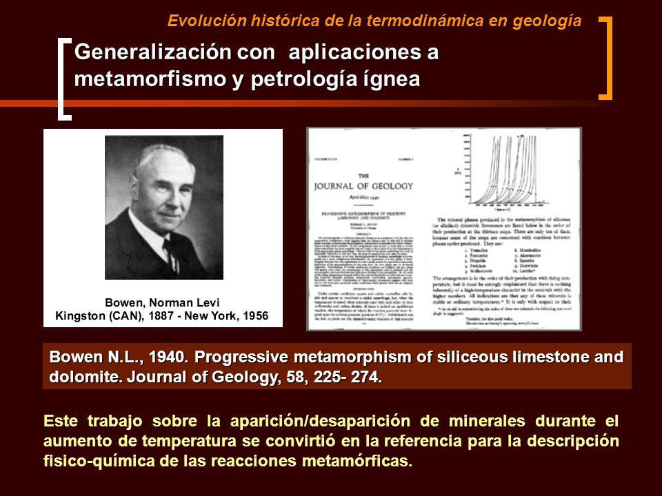 Evolución histórica de la termodinámica en geología Generalización con aplicaciones a metamorfismo y petrología ígnea Bowen N.L., 1940. Progressive me