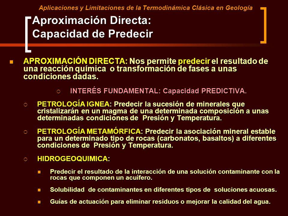 Aplicaciones y Limitaciones de la Termodinámica Clásica en Geología APROXIMACIÓN DIRECTA: Nos permite predecir el resultado de una reacción química o