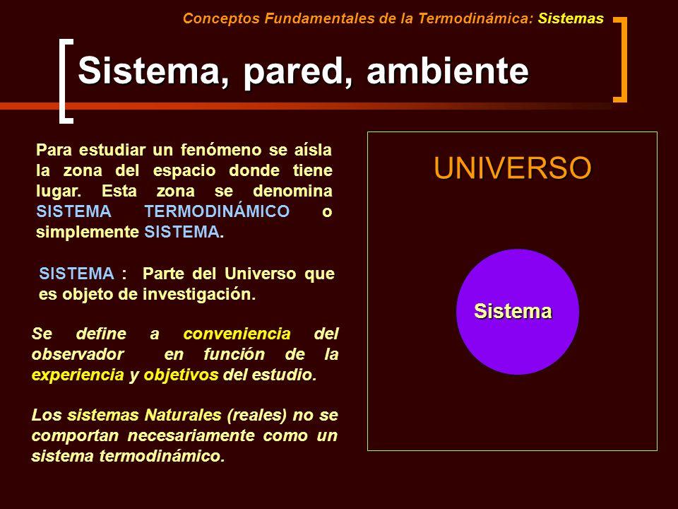 Sistema, pared, ambiente UNIVERSO Sistema Conceptos Fundamentales de la Termodinámica: Sistemas Para estudiar un fenómeno se aísla la zona del espacio