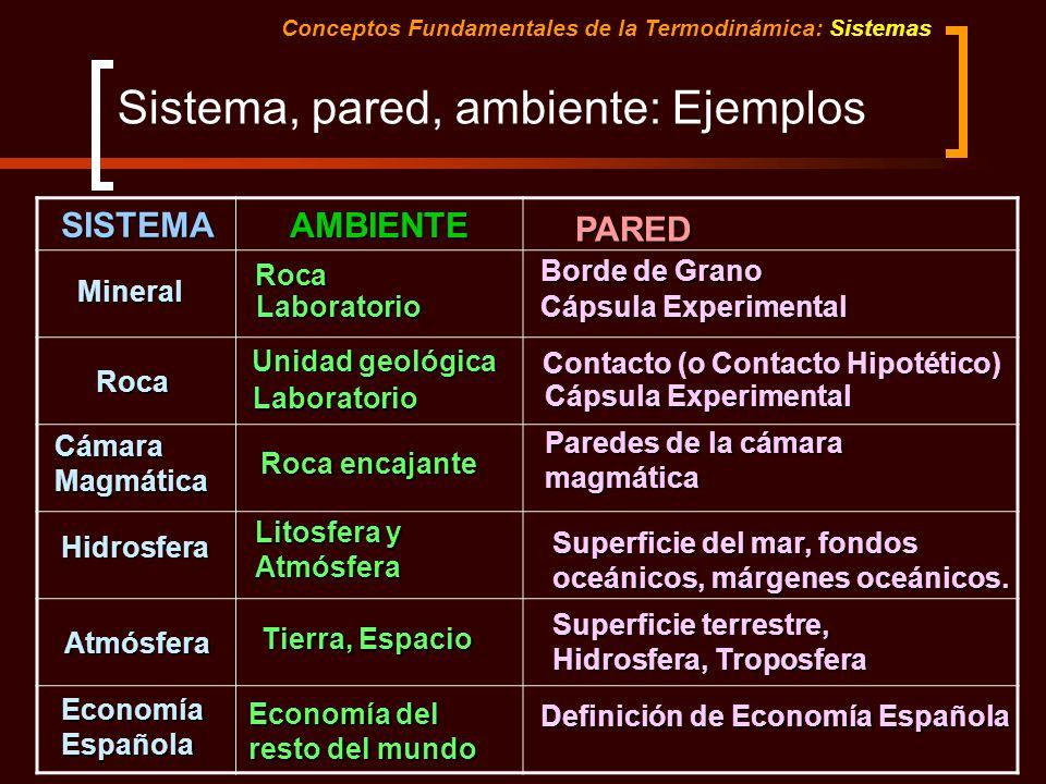 Sistema, pared, ambiente: Ejemplos Conceptos Fundamentales de la Termodinámica: SistemasSISTEMA AMBIENTE PARED Mineral Roca Laboratorio Borde de Grano
