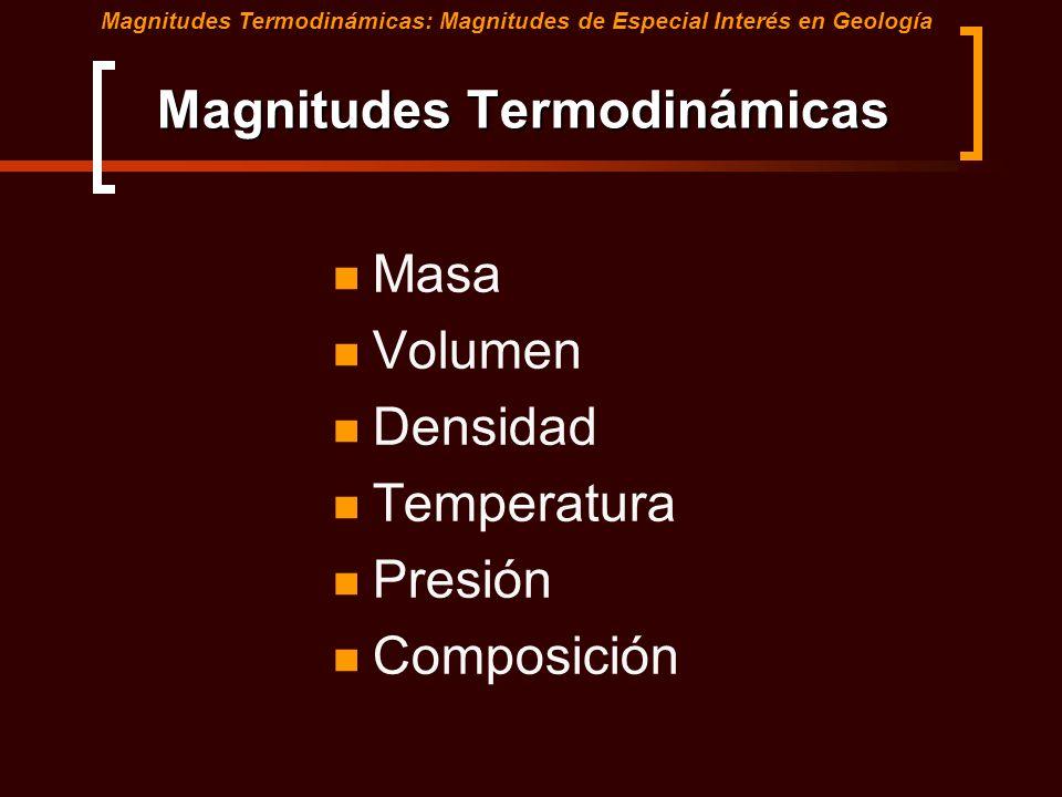 Magnitudes Termodinámicas Masa Volumen Densidad Temperatura Presión Composición Magnitudes Termodinámicas: Magnitudes de Especial Interés en Geología