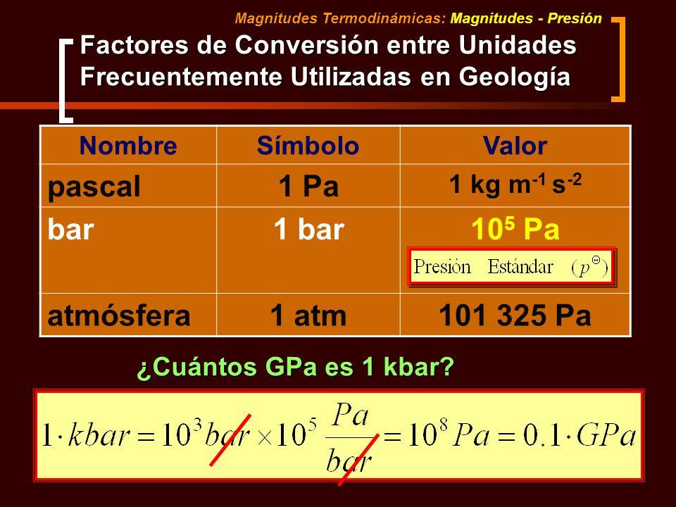 Factores de Conversión entre Unidades Frecuentemente Utilizadas en Geología Magnitudes Termodinámicas: Magnitudes - Presión NombreSímboloValor pascal1
