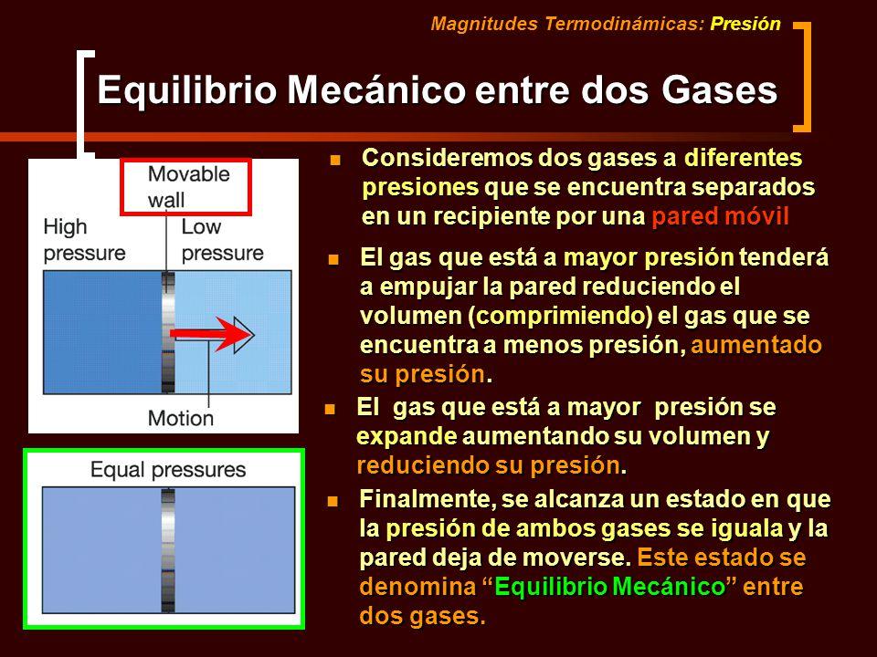 Equilibrio Mecánico entre dos Gases Magnitudes Termodinámicas: Presión Consideremos dos gases a diferentes presiones que se encuentra separados en un
