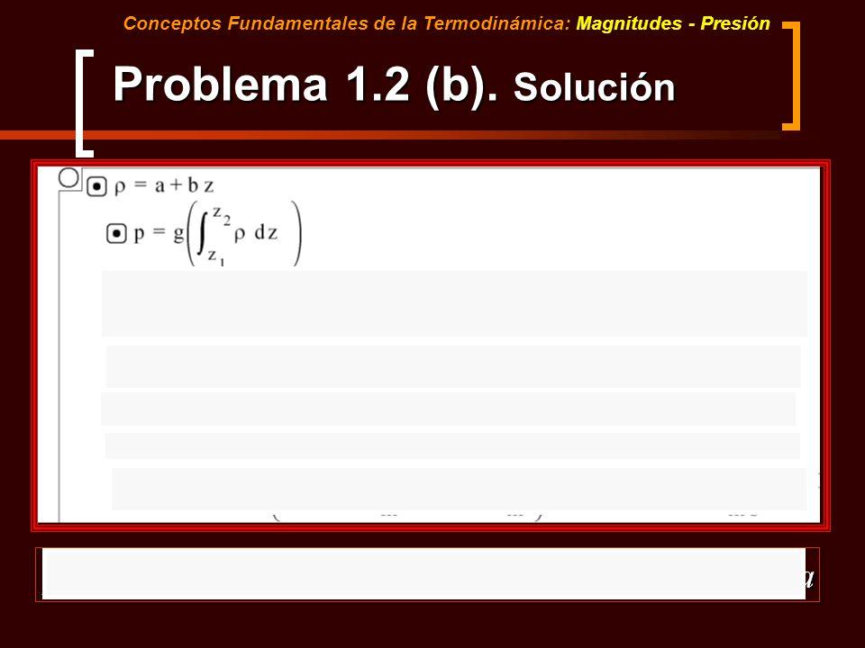 Conceptos Fundamentales de la Termodinámica: Magnitudes - Presión Problema 1.2 (b). Solución