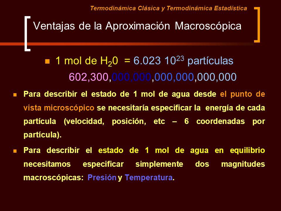 Ventajas de la Aproximación Macroscópica 1 mol de H 2 0 = 6.023 10 23 partículas 602,300,000,000,000,000,000,000 Para describir el estado de 1 mol de