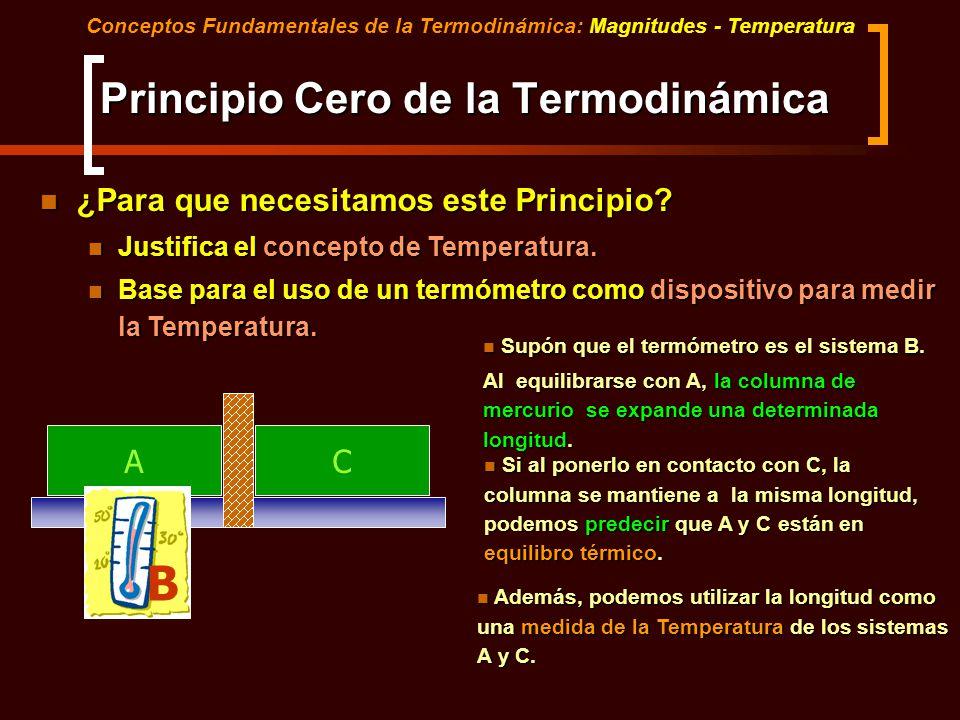 Principio Cero de la Termodinámica ¿Para que necesitamos este Principio? ¿Para que necesitamos este Principio? Justifica el concepto de Temperatura. J