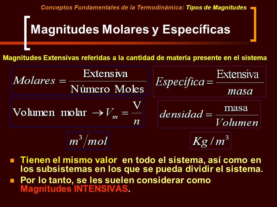 Magnitudes Molares y Específicas Conceptos Fundamentales de la Termodinámica: Tipos de Magnitudes Magnitudes Extensivas referidas a la cantidad de mat