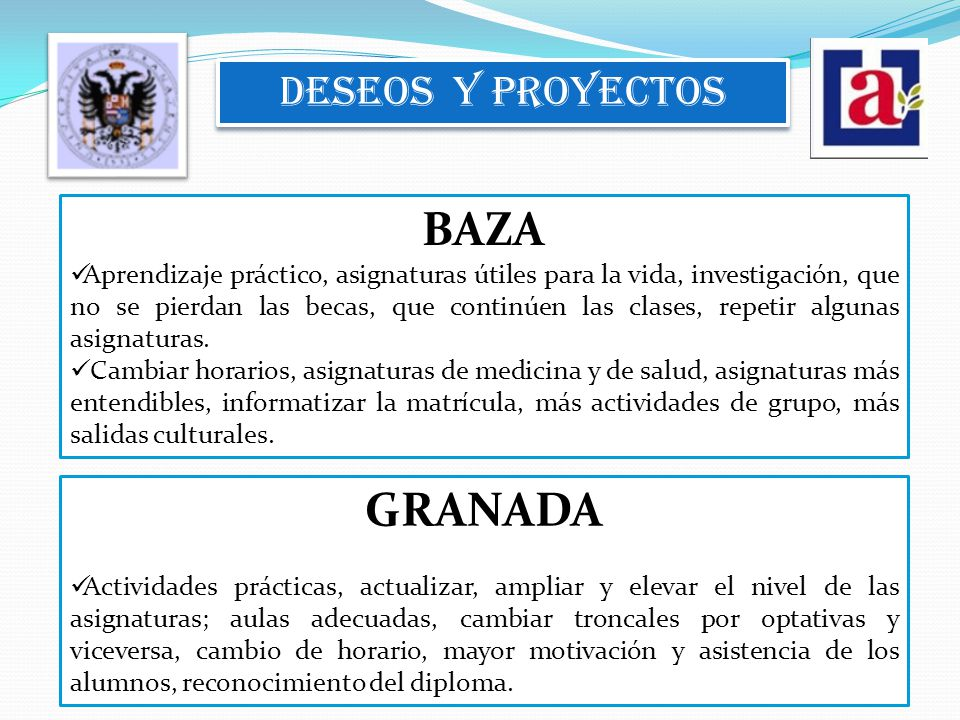 DESEOS Y PROYECTOS BAZA Aprendizaje práctico, asignaturas útiles para la vida, investigación, que no se pierdan las becas, que continúen las clases, repetir algunas asignaturas.
