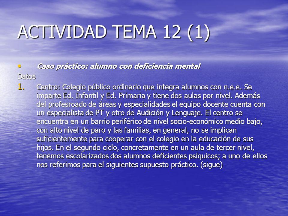 ACTIVIDAD TEMA 12 (1) Caso práctico: alumno con deficiencia mental Caso práctico: alumno con deficiencia mentalDatos 1. Centro: Colegio público ordina