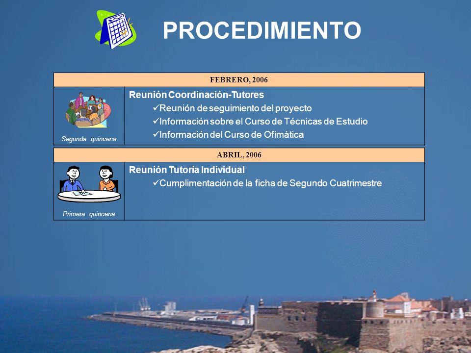 PROCEDIMIENTO FEBRERO, 2006 Segunda quincena Reunión Coordinación-Tutores Reunión de seguimiento del proyecto Información sobre el Curso de Técnicas d