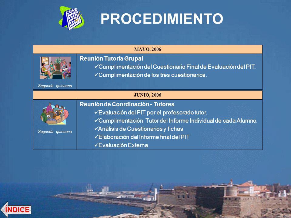 PROCEDIMIENTO MAYO, 2006 Segunda quincena Reunión Tutoría Grupal Cumplimentación del Cuestionario Final de Evaluación del PIT. Cumplimentación de los