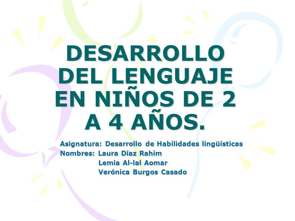 DESARROLLO DEL LENGUAJE EN NIÑOS DE 2 A 4 AÑOS. Asignatura: Desarrollo de Habilidades lingüísticas Nombres: Laura Díaz Rahim Lemia Al-lal Aomar Lemia