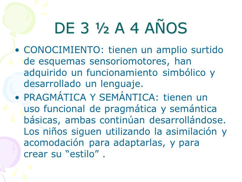 DE 3 ½ A 4 AÑOS CONOCIMIENTO: tienen un amplio surtido de esquemas sensoriomotores, han adquirido un funcionamiento simbólico y desarrollado un lengua