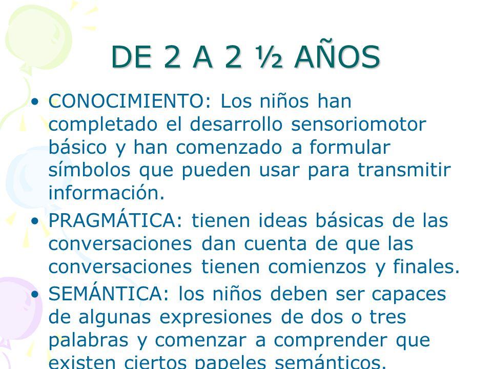 DE 2 A 2 ½ AÑOS CONOCIMIENTO: Los niños han completado el desarrollo sensoriomotor básico y han comenzado a formular símbolos que pueden usar para tra