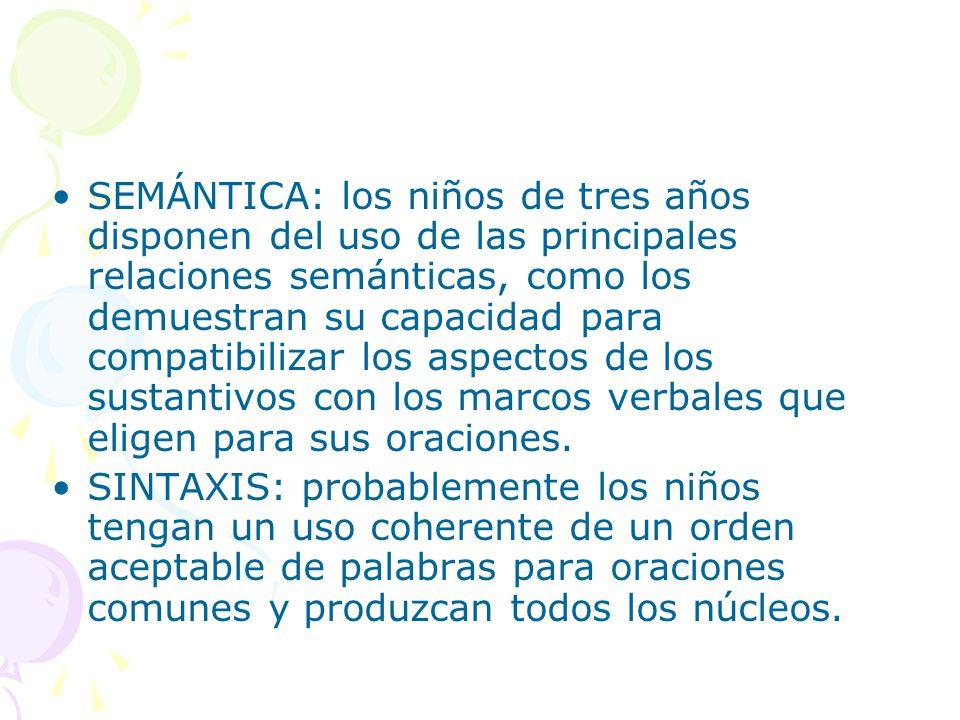 SEMÁNTICA: los niños de tres años disponen del uso de las principales relaciones semánticas, como los demuestran su capacidad para compatibilizar los