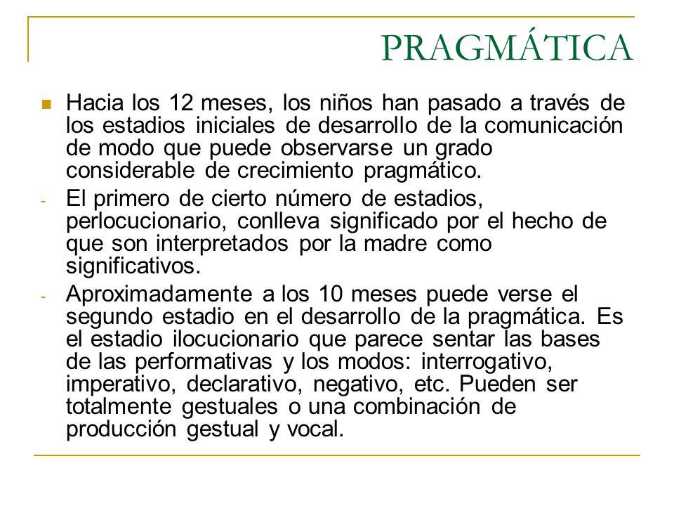 PRAGMÁTICA Hacia los 12 meses, los niños han pasado a través de los estadios iniciales de desarrollo de la comunicación de modo que puede observarse u