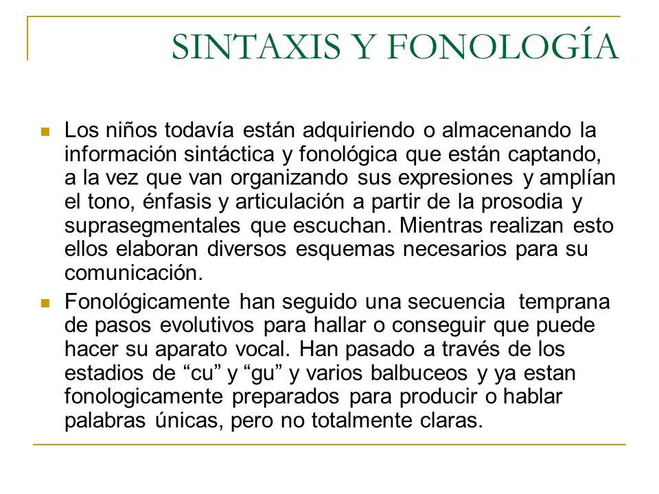 SINTAXIS Y FONOLOGÍA Los niños todavía están adquiriendo o almacenando la información sintáctica y fonológica que están captando, a la vez que van org
