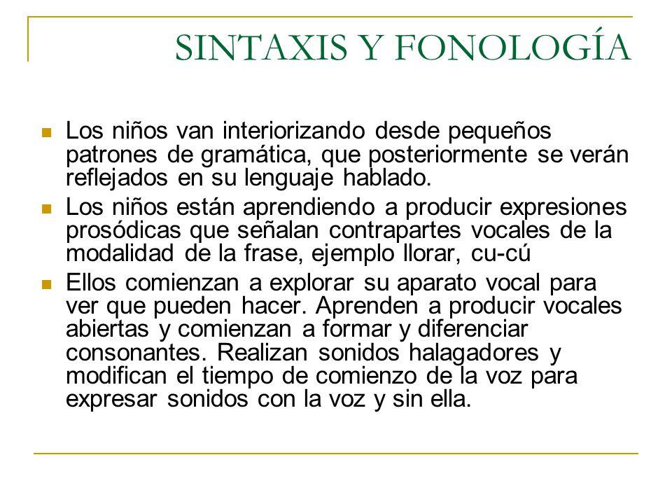 SINTAXIS Y FONOLOGÍA Los niños van interiorizando desde pequeños patrones de gramática, que posteriormente se verán reflejados en su lenguaje hablado.