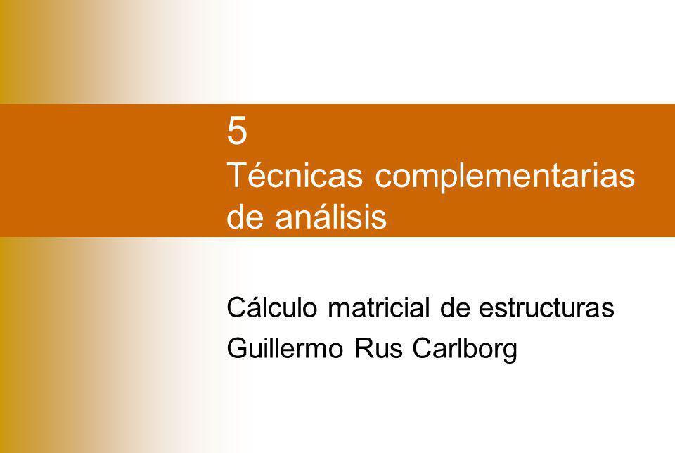 CondensaciónLibertadesSubestructurasLigadurasNudos flexibles Guillermo Rus Carlborg Índice Condensación en GDL Libertades en barras Subestructuras o macroelementos Ligaduras de movimientos Nudos flexibles