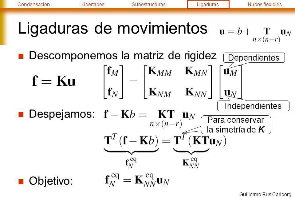 CondensaciónLibertadesSubestructurasLigadurasNudos flexibles Guillermo Rus Carlborg Ligaduras de movimientos Descomponemos la matriz de rigidez Despej