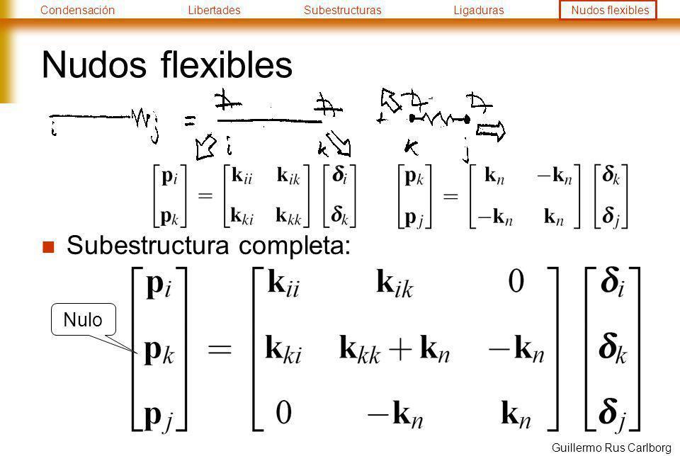 CondensaciónLibertadesSubestructurasLigadurasNudos flexibles Guillermo Rus Carlborg Nudos flexibles Subestructura completa: Nulo