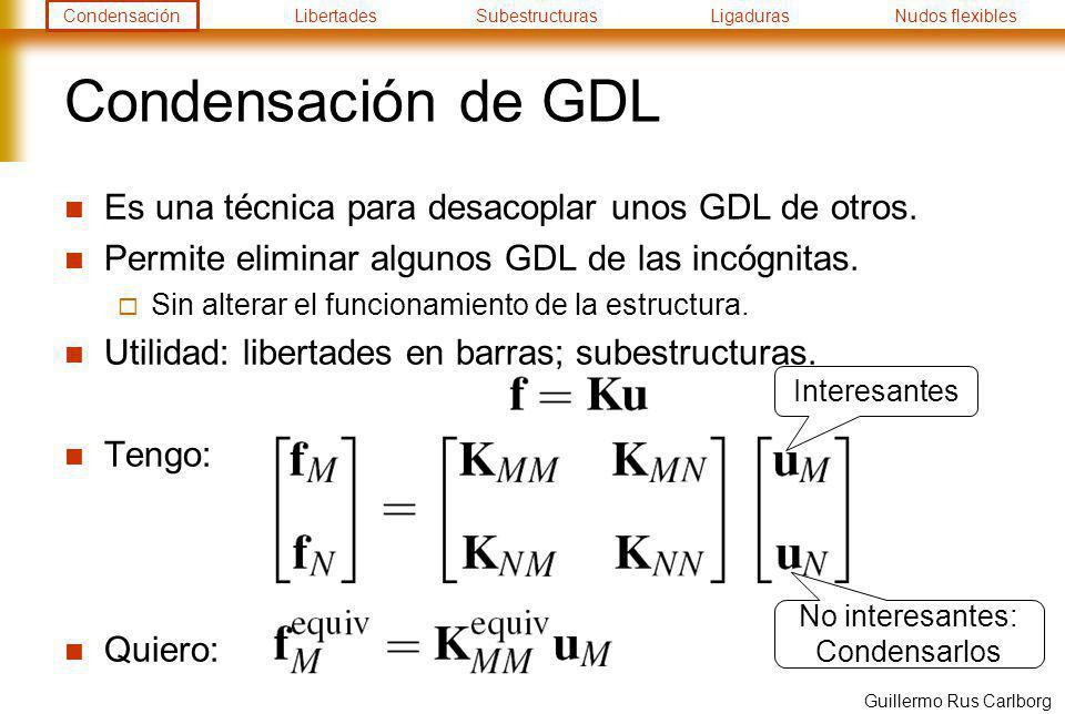 CondensaciónLibertadesSubestructurasLigadurasNudos flexibles Guillermo Rus Carlborg Condensación de GDL Despejar: Equivalente: Quiero: Tengo: En práctica computacional no se llega a invertir
