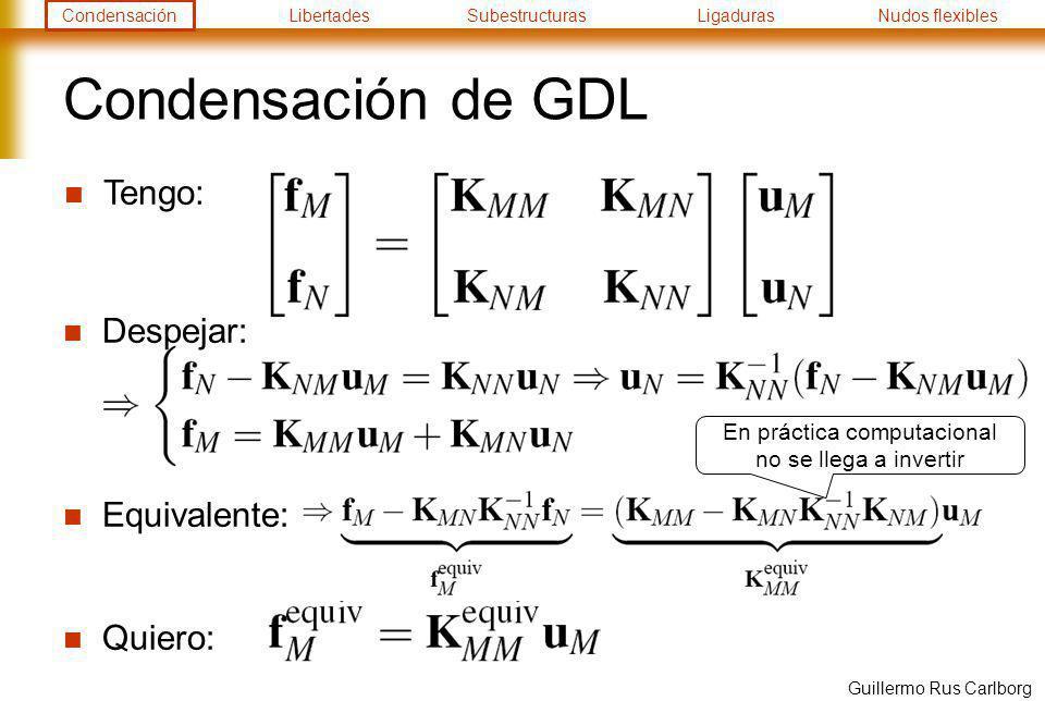 CondensaciónLibertadesSubestructurasLigadurasNudos flexibles Guillermo Rus Carlborg Condensación de GDL Despejar: Equivalente: Quiero: Tengo: En práct
