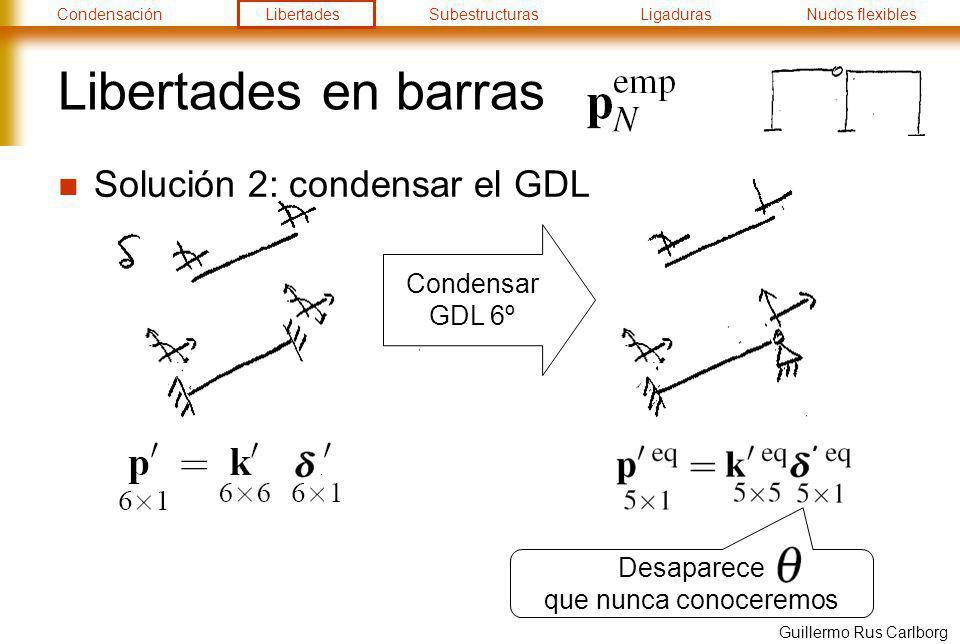 CondensaciónLibertadesSubestructurasLigadurasNudos flexibles Guillermo Rus Carlborg Libertades en barras No hay que olvidar La matriz de rigidez condensada se obtiene: Opción 1: invirtiendo a partir de la matriz original: Opción 2: por definición de matriz de rigidez: